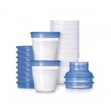 Avent Комплект контейнери за кърма - 10 чаши х 180 мл + 10 капачки + 2 бр. адаптори