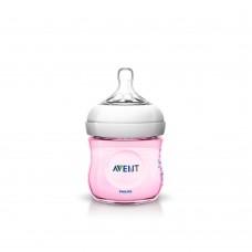 Avent Бутилка Natural 125 мл биберон 1 дупка 0м+ розов цвят